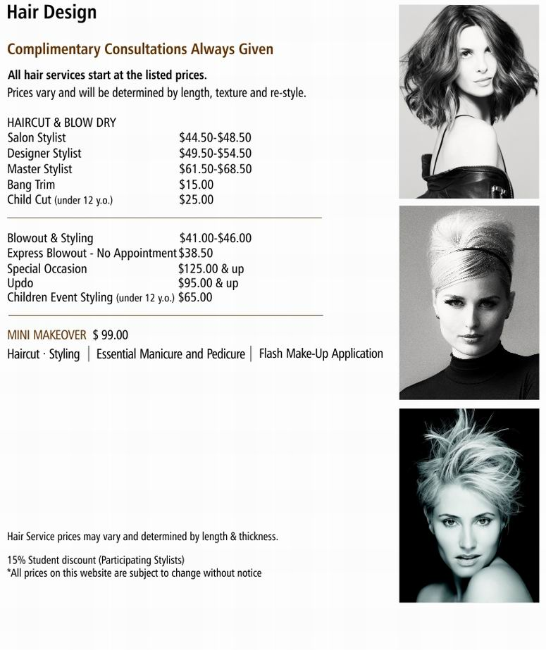 Price Menu Hair Design Christie Salon Co